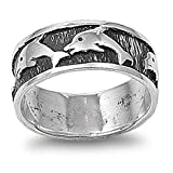 Sterling Silver Women's Team Dolphin Ring (Sizes 5-12)