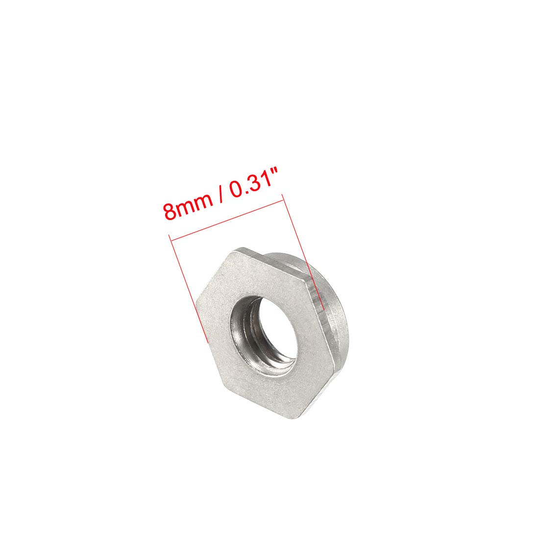 uxcell M4 x 0.7mm Pitch Hex Head Carbon Steel Blind Hole Self Clinching Standoff Nuts Pack of 100
