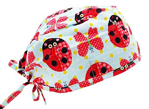 Red & Blue Love Bug Lady Bug Butterfly Medical Scrub Cap