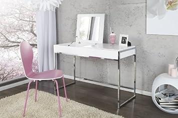 Casa Padrino Designer Schminktisch Mit Spiegel Weiss   Damen Schreibtisch    Sekretär Konsole   Damen Konsolentisch