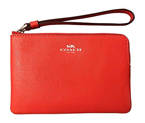 Coach Crossgrain Leather Corner Zip Wristlet, Orange Red