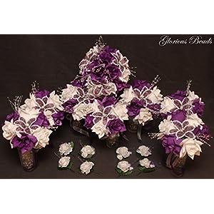 PURPLE BEADED Flower Lily Wedding / Quincenarea Bouquet 16 PC Set with FREE Boutonnieres 10