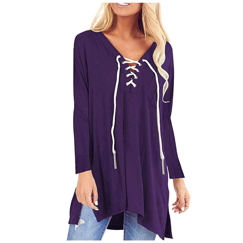SHUSUEN Womens Tops Floral V Neck Tunic Long Sleeve Blouses Lace Up Flowy Side Split Casual Shirts Purple by SHUSUEN