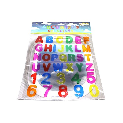 Abcs & 123s Gel Clings - 36 Piece Window Gel Clings Toy - Numbers and Alphabet Letters - Great for Travel on Planes, Birthday Parties, Cars or at Home