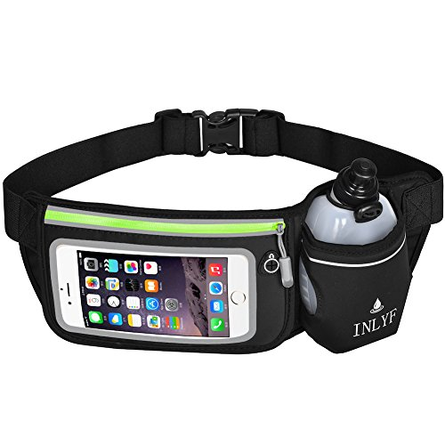 Cheap INLYF Running Belt with Water Bottle (10oz), Adjustable Waist Hydration pack for iPhone 7/8/X with Touchscreen