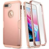 YOUMAKER Case for iPhone 8 Plus & iPhone 7 Plus, Full Body with Built-in Screen Protector Heavy Duty Protection Slim Fit Shockproof Cover for Apple iPhone 8 Plus (2017) 5.5 Inch - Rose Gold/Pink