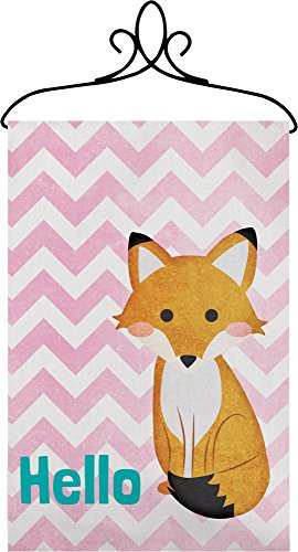 (Manual Hello Fox Chevron Nursery Wallhanging Bannerette w/ Rod SWHFOX 18x13