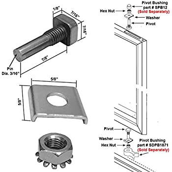 Shower Door Stainless Steel Pivot Pin With Hex Nut And