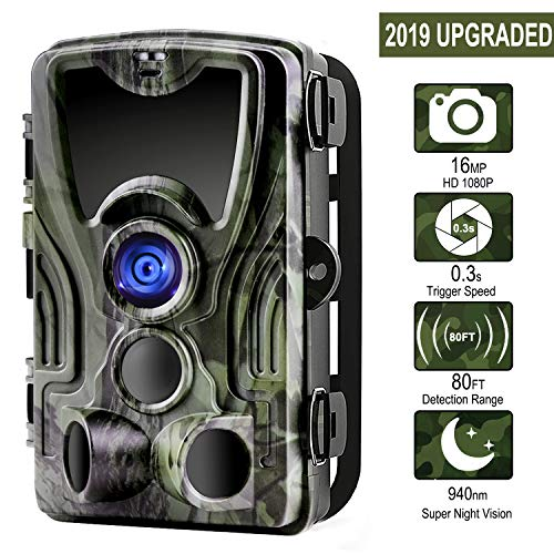 Trail Camera, 1080P 16MP Game Camera with 120°Wide Angle 80ft Detection Range, Night Vision Motion Activated, 36 pcs 940nm IR LEDs, IP65 Waterproof, 0.3s Trigger Time Wildlife Hunting Camera