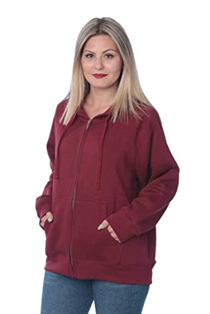 b5fe6620860 Beverly Rock Womens Sweatshirt Plus Size Heavyweight Active Fleece Full  Zip-Up Hoodie WF03 Y18 Maroon