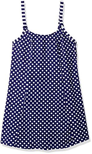 Amoena Women's Tavira Pocketed Polka Dot Swim Dress W/Panty, Navy/White, 8B