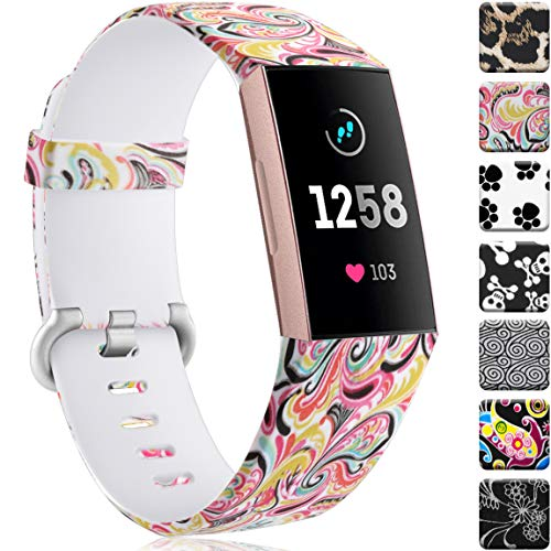 Maledan Compatible with Fitbit Charge 3 Bands, Paisley Pattern, Fits for 5.5-7.1 Wrist