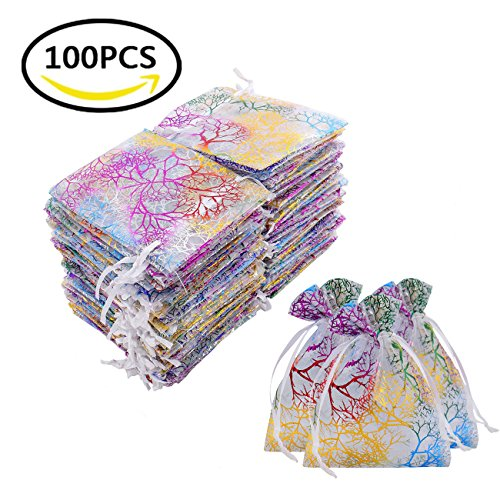 "Luxbon 100Pcs Coralline Clear Organza Drawstring Bags Jewelry Pouches Wedding Party Candy Chocolate Christmas Favor Gift Bags Beading Storage Bags 3.35"" X 4.7"""