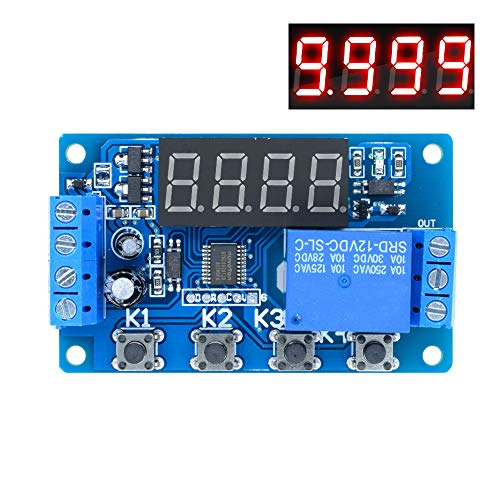 (Aideepen 12V Timer Delay Relay, Digital LED Display Programmable Multi-Function Trigger Time Circuit Control Cycle Switch PLC Module for Motor etc)