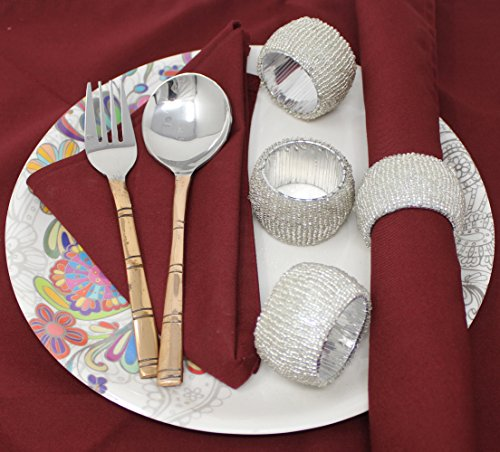 SKAVIJ Silver Napkin Rings Set of 12 Round for Weddings Dinner Parties or Every Day Use by SKAVIJ (Image #1)