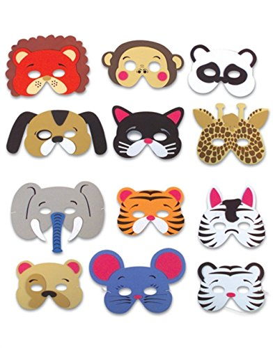 Giveme5 12 Assorted Foam Animal Masks for Birthday Party Favors Dress-Up Costume (One Dozen) (Cute Halloween Costumes For Two Kids)