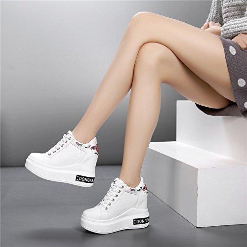 e super comfort superficiale casual alta nbsp;cm da scarpe White primavera invisibile inferiore scarpe donna alti tacchi scarpe sneakers scarpe GTVERNH spessore 12 UwdqPU