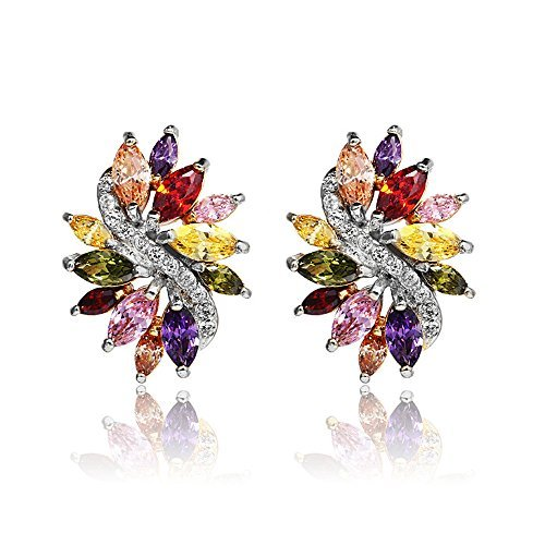 White Gold Plated Multicolor Cubic Zirconia Earrings With Gift Box and Velvet Gift Bag