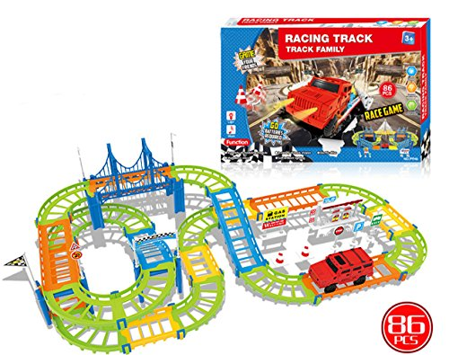 O-Toys Track Racing Car DIY Puzzle Construction Double Railway Transportation Building Electric Driver Car Gift Toy Set for (Diy Car Costume)