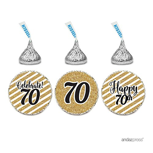 Birthday Personalized Favor - Andaz Press Milestone Chocolate Drop Labels Trio, Fits Hershey's Kisses Party Favors, Celebrate 70, 70th Birthday or Anniversary, 216-Pack, Printed Gold Glitter, Not Real Glitter