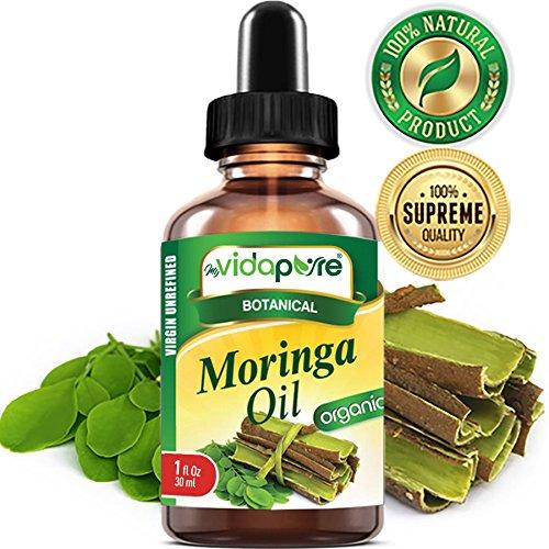 Organic MORINGA OIL Moringa oleifera 100% Pure 1 Fl.oz.- 30 ml. For Skin, Face, Hair, Lip and Nail Care. by myVidaPure
