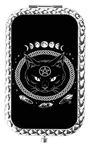 (IMLONE Rectangle Silvery Black Cat Pentacle Compact Purse Mirror with 2X Magnification, Portable Folding Makeup Mirror, Great Choice and Best Gift for You and Your)