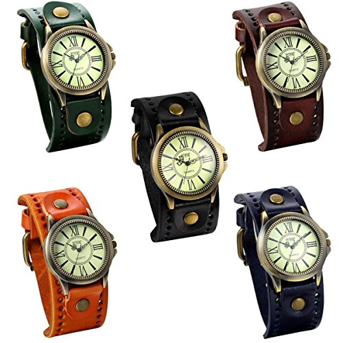 Vintage Watch 5 (JewelryWe Lot of 5 Wholesale Vintage Leather Strap Wide Band Wristwatch Cuff Quartz Watches for Men)