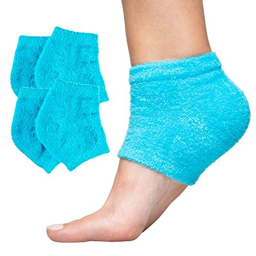 ZenToes Moisturizing Heel Socks 2 Pairs Gel Lined Toeless Spa Socks to Heal and Treat Dry, Cracked Heels While You Sleep…