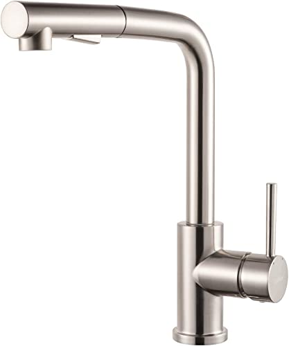 Lordear Bar Sink Faucet,Modern Style Stainless Steel 2 Water Function Setting Single Handle Pull Out with Sprayer Wet Bar Brushed Nickel Kitchen Faucet, Pull Down Kitchen Sink Faucet
