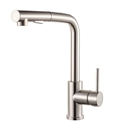 Lordear Bar Sink Faucetmodern Style Stainless Steel 2 Water Function Setting Single Handle Pull Out With Sprayer Wet Bar Brushed Nickel Kitchen