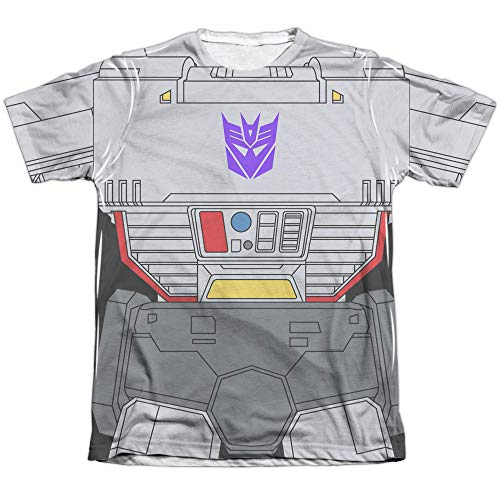 Transformers Megatron Costume Unisex Adult Sublimated Poly/Cotton T Shirt for Men and Women, Medium White ()