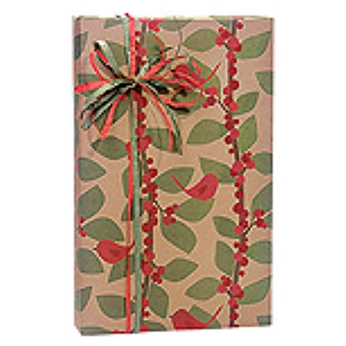 Red Bird Berries Kraft Holiday Gift Wrap Roll - 24 Inches x 417 Feet Long - 2 Rolls by NW