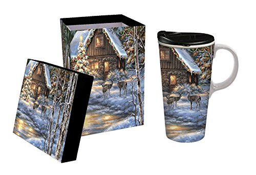 Cypress Home Snowy Path Ceramic Travel Mug with Gift Box, 17 ounces