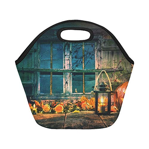 Insulated Neoprene Lunch Bag Halloween Pumpkin Head Jack Lantern Burning Large Size Reusable Thermal Thick Lunch Tote Bags For Lunch Boxes For Outdoors,work, Office, School -