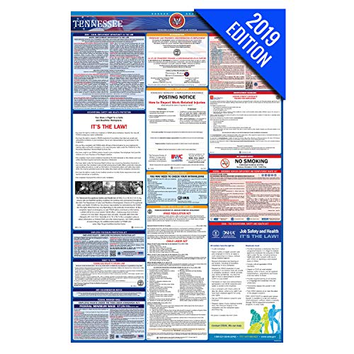 (2019 Tennessee Labor Law Poster - State, Federal, OSHA Compliant - Single Laminated Poster )