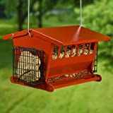 New Heritage Farms Seed 'N More Feeder Two Side Suet Baskets 2.5 Gallons Metal Perch