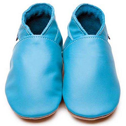 Inch Blue Mädchen/Jungen Schuhe für den Kinderwagen aus luxuriösem Leder - Weiche Sohle - Einfarbig Türkis