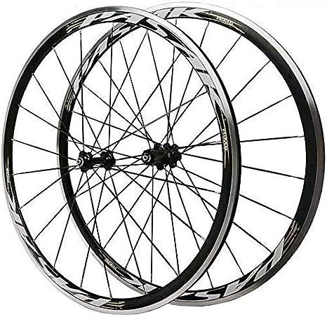 Bicicleta de carretera bicicleta rueda delantera rueda trasera 700C 30MM juego de ruedas de bicicleta llantas de aleación ligera de doble pared V freno de liberación rápida Rodamientos Palin 8-12 vel: Amazon.es:
