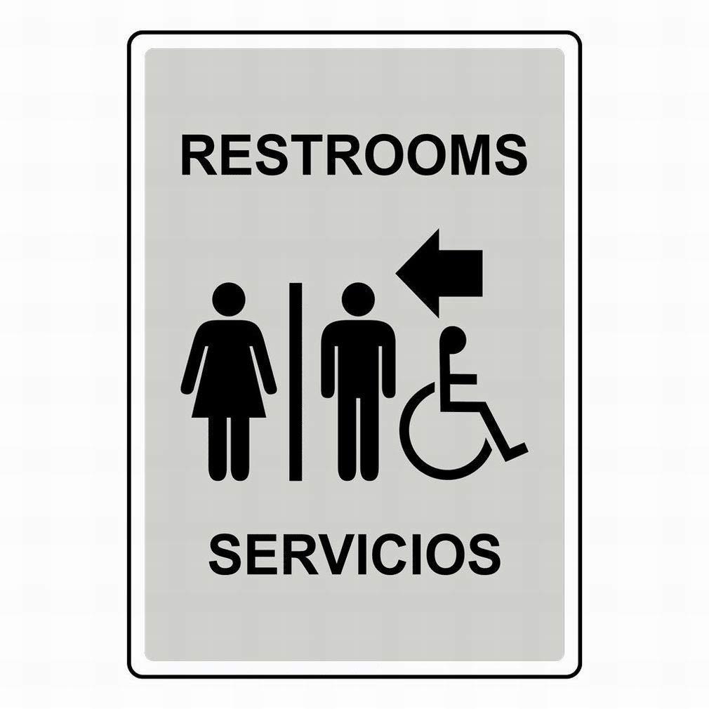 DYLAN MILLER Road Sign Restrooms Servicios BIN0277 8 x 12 Inches Metal Sign Durable Indoor and Outdoor Signs Street Signs