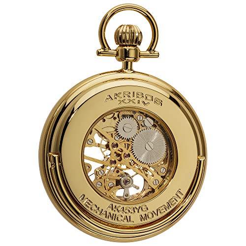 (Akribos XXIV Men's AKR453YG Mechanical Skeleton Gold-Tone Pocket Watch )