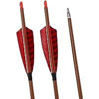 ACCMOS 12 Piezas Tiro con Arco Flechas de Carbono de 30 Pulgadas Piel de Madera Pintura de Madera Spine 500 DI 6.2 mm…