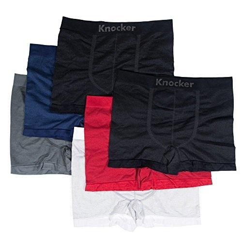 6pk Mens Seamless Athletic Compression Boxer Briefs Shorts Underwear OS KNOCKER ()