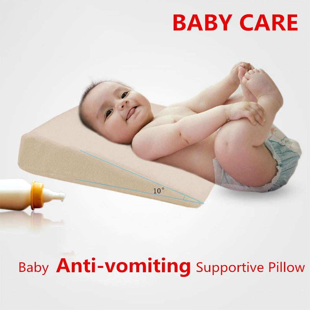 Amyove Wedge Bed Pillow Elevated Supportive Cushion Safe Universal Crib Wedge for Baby Slant Acid Reflux Anti-Vomiting Supplies