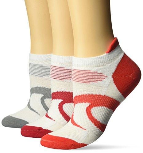 ASICS Women's Intensity Single Tab Socks (3 Pairs), White/Samba Assorted, Small
