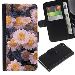 APlus Cases // Apple Iphone 4 / 4S // Congelado flores margaritas Invierno Hielo Arte // Cuero PU Delgado caso Billetera cubierta Shell Armor Funda Case Cover Wallet Credit Card