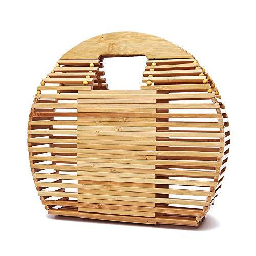 Capacity Tote Bag Portable Outdoor Miaomiaowang Large Womens Travel Handbag Round Bamboo wx1pZBq