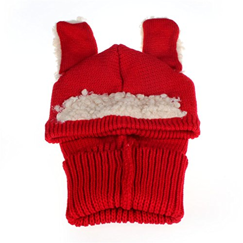 [Koolee Winter Baby Kids Girls Boys Warm Woolen Coif Hood Scarf Caps Hats Cute Knitted Hat Red] (Turban And Beard Costume)