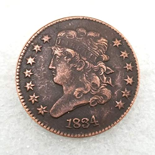 (MarshLing 1834 Antique US Liberty Half-Cent Coin - Great American Commemorative Old Coins - USA Uncirculated Morgan Dollars-Discover History of US Coins Perfect)