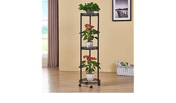 Flor de hierro estante balcón escalera estantería para plantas de maceta de suelo Modelo con rueda moderna sencilla Creativo Para interiores y exteriores: ...