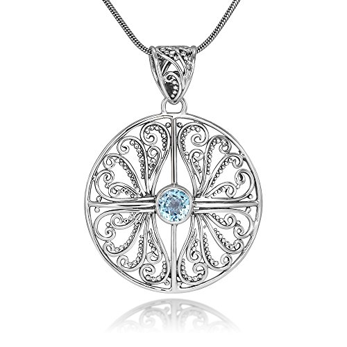 Sterling Silver Open Filigree Blue Topaz Gemstones Round Pendant Necklace 18